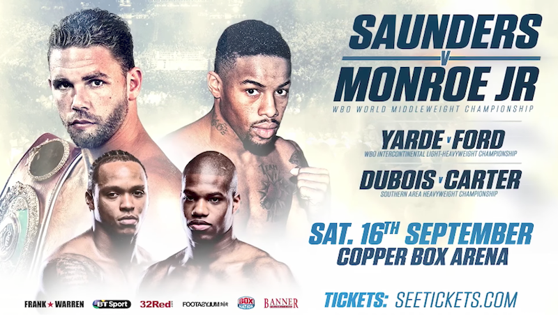 Saunders vs. Monroe Jr Fight Card