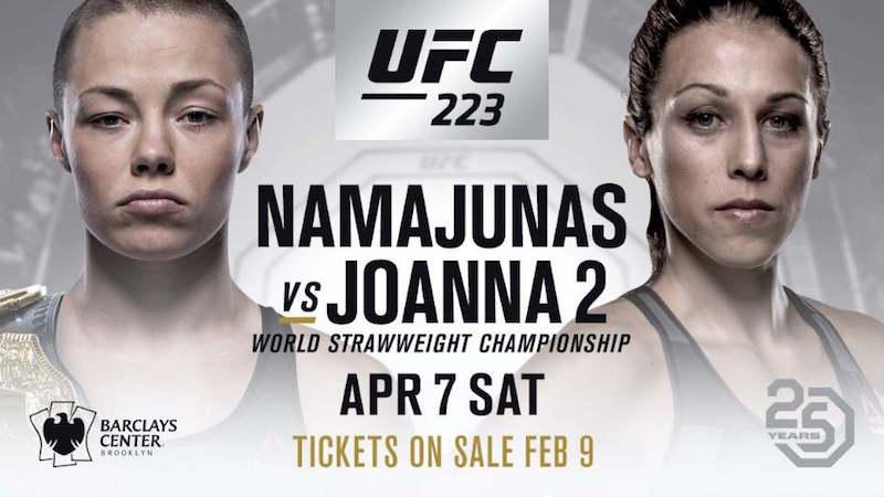 Namajunas vs. Joanna 2 set for Saturday 7th April