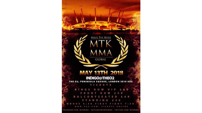 MTK MMA Global debut on Saturday 13th May