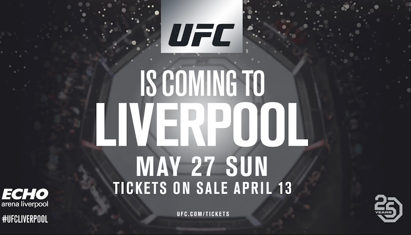 UFC Liverpool Set For Sunday 27th May
