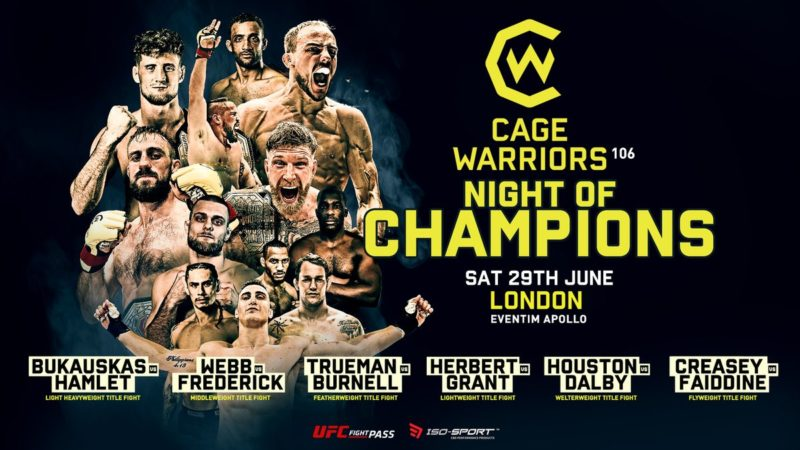 Cage Warriors 106: Night of Champions Results