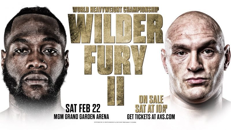 Wilder vs. Fury 2 official for Saturday 22nd February